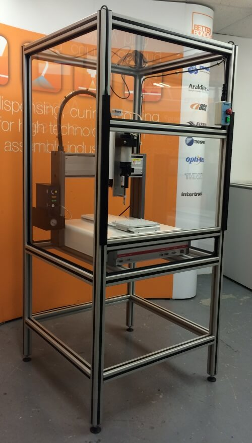 Robot workstation for precision benchtop dispensing two part adhesives