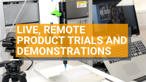 Live, remote trials and demonstrations for adhesives and equipment